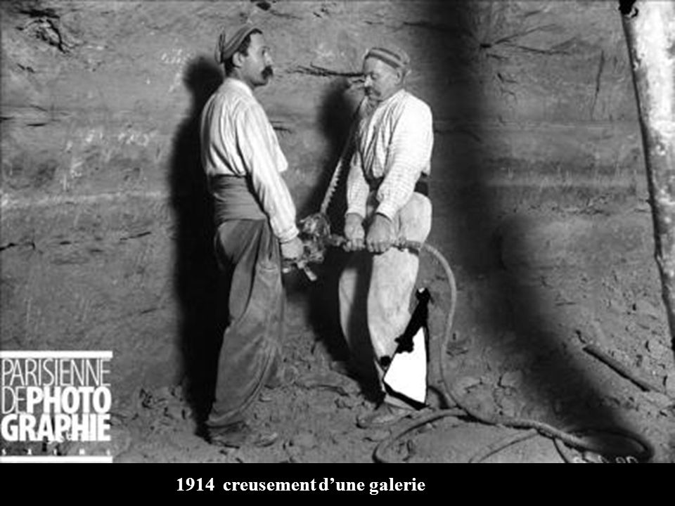 1914 creusement d'une galerie