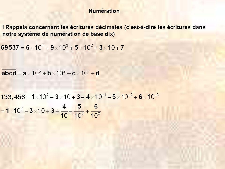 Numération I Rappels concernant les écritures décimales (c'est-à-dire les écritures dans notre système de numération de base dix)