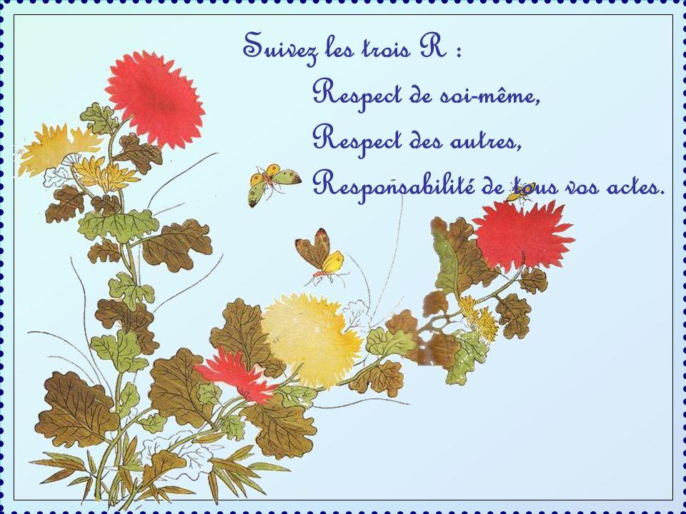 Suivez les trois R : Respect de soi-même, Respect des autres, Responsabilité de tous vos actes.