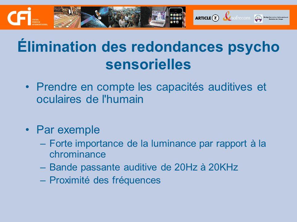 Élimination des redondances psycho sensorielles