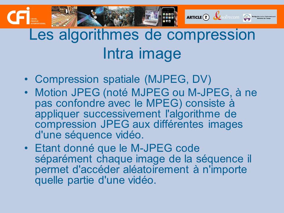 Les algorithmes de compression Intra image