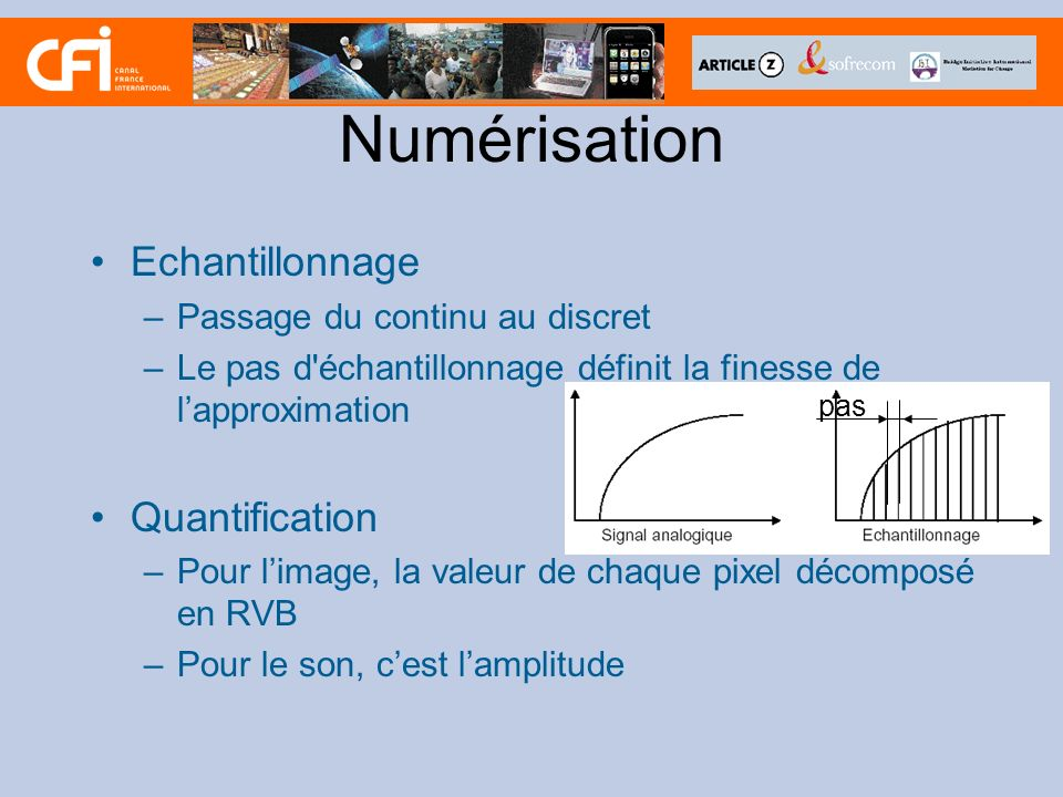 Numérisation Echantillonnage Quantification