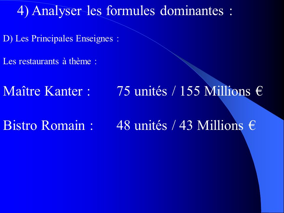 4) Analyser les formules dominantes :