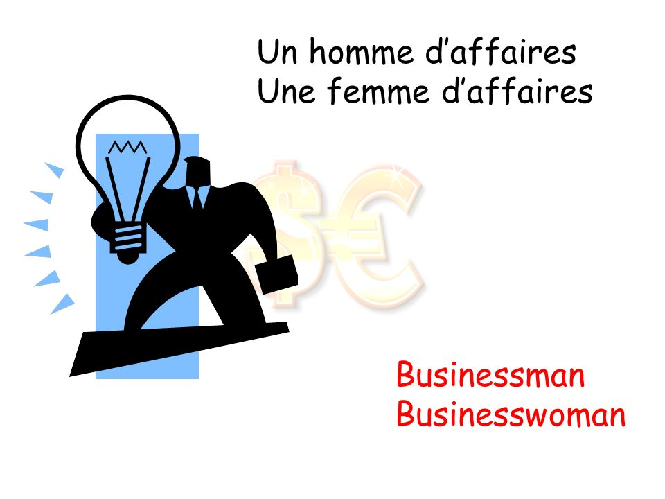 Un homme d'affaires Une femme d'affaires Businessman Businesswoman