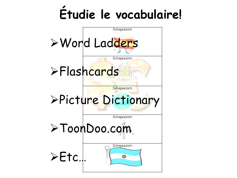 Étudie le vocabulaire! Word Ladders Flashcards Picture Dictionary