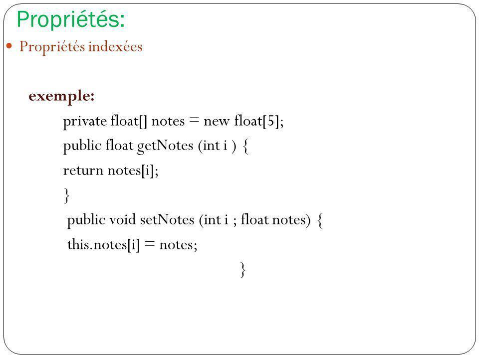Propriétés: Propriétés indexées exemple: