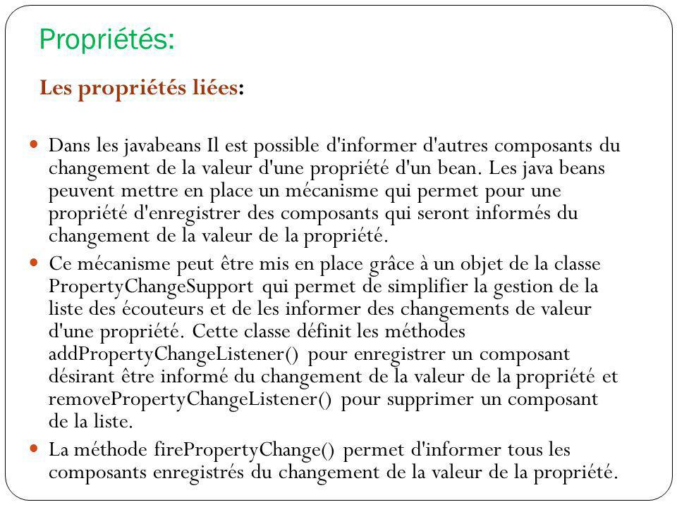 Propriétés: Les propriétés liées: