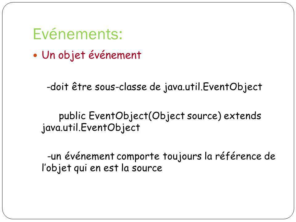 Evénements: -doit être sous-classe de java.util.EventObject