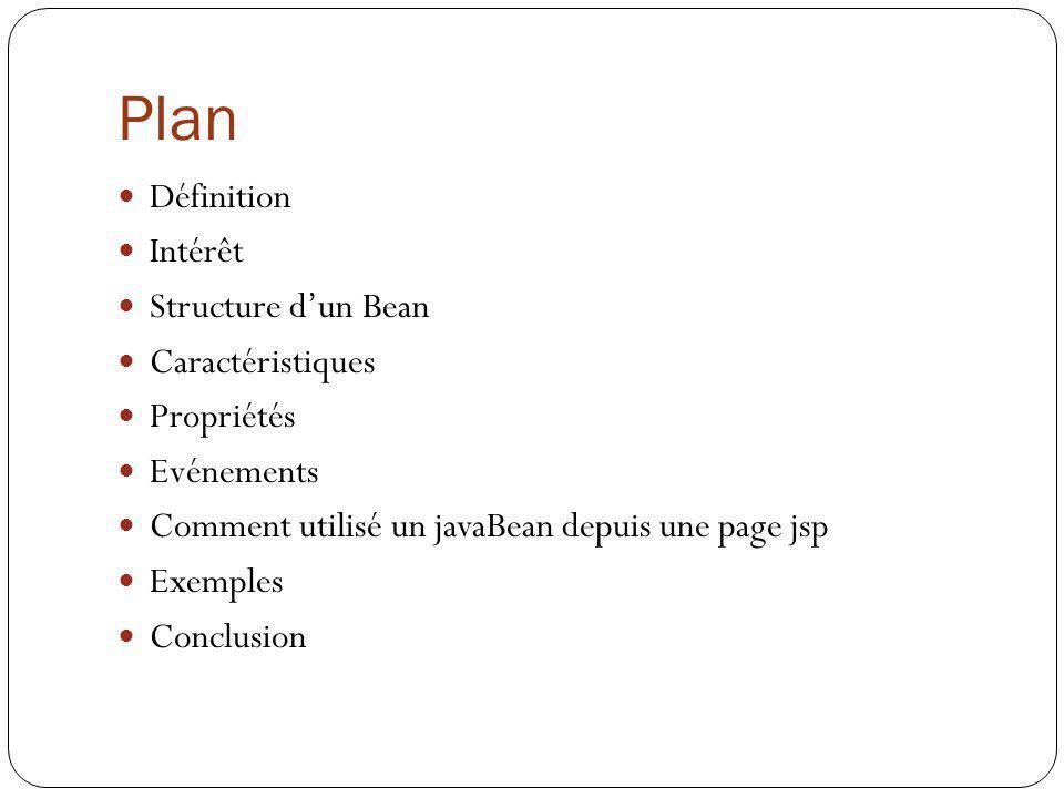 Plan Définition Intérêt Structure d'un Bean Caractéristiques