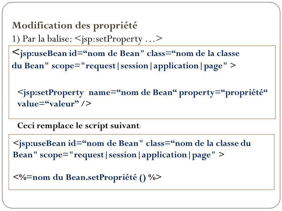 Modification des propriété