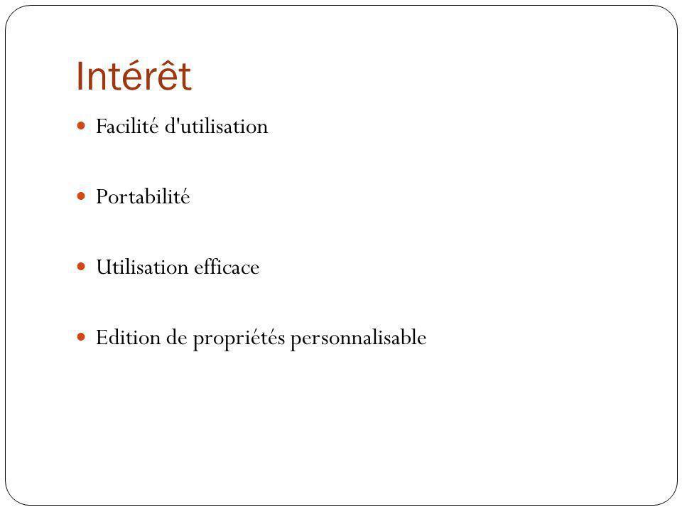 Intérêt Facilité d utilisation Portabilité Utilisation efficace