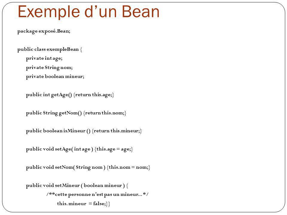 Exemple d'un Bean package exposé.Bean; public class exempleBean {