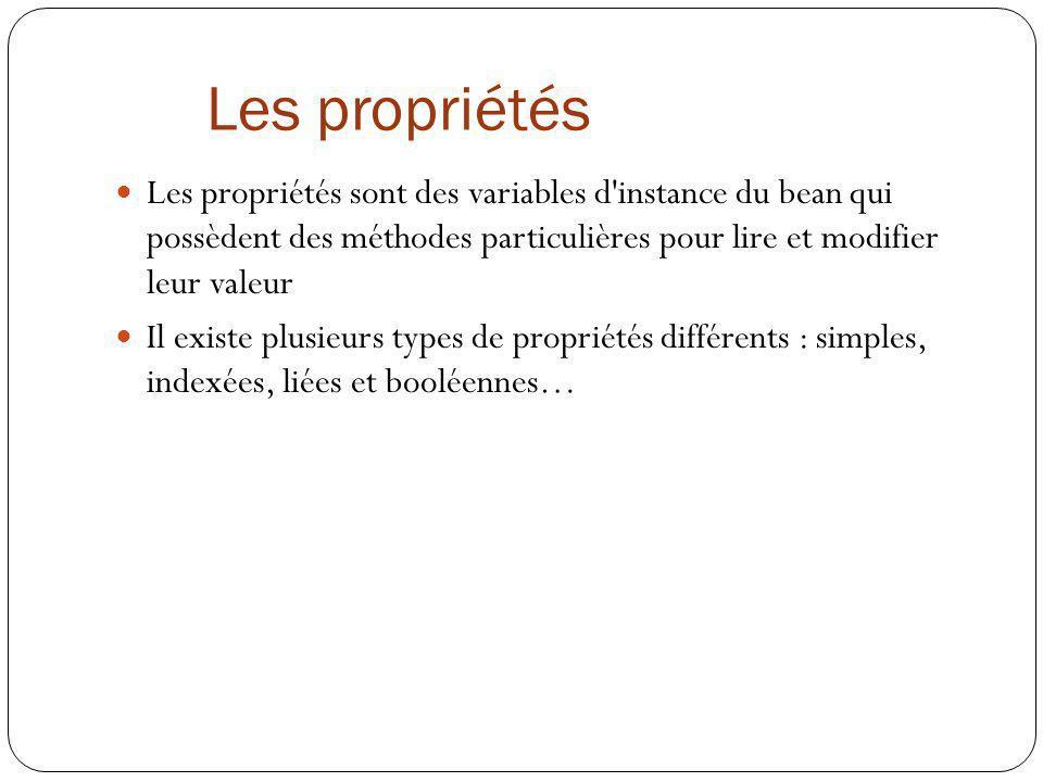 Les propriétés Les propriétés sont des variables d instance du bean qui possèdent des méthodes particulières pour lire et modifier leur valeur.
