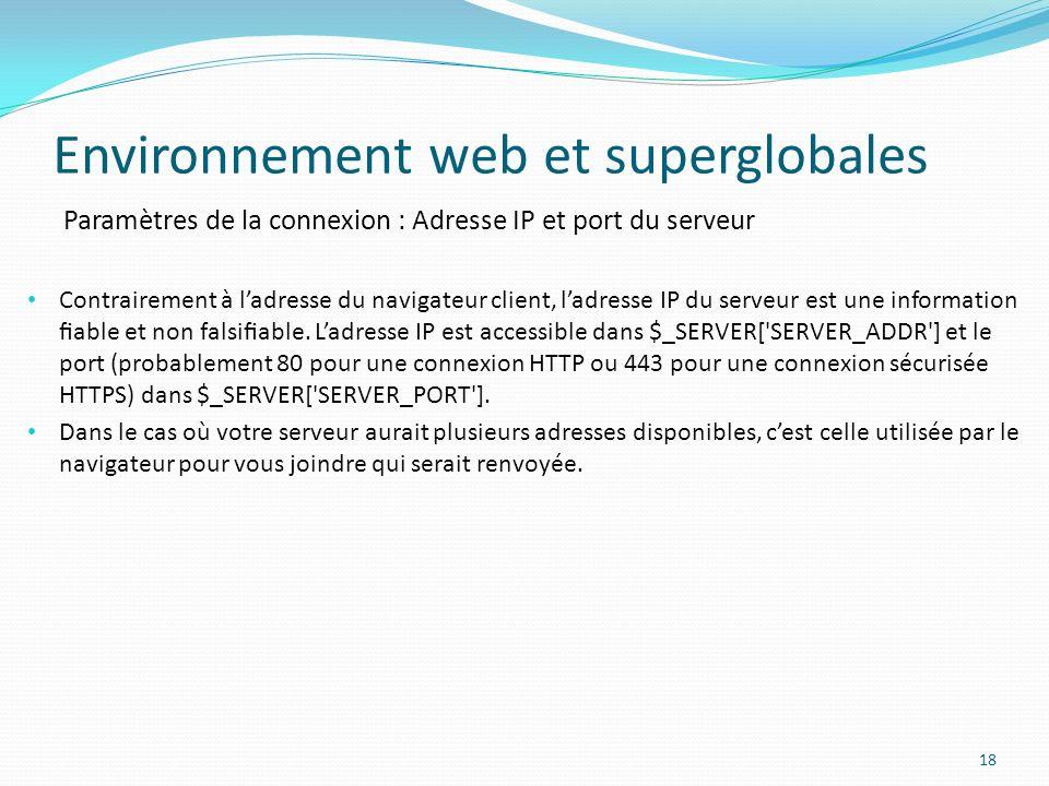 Environnement web et superglobales