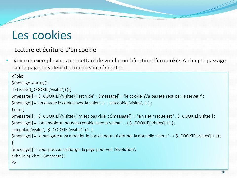 Les cookies Lecture et écriture d'un cookie