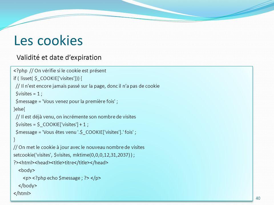 Les cookies Validité et date d'expiration
