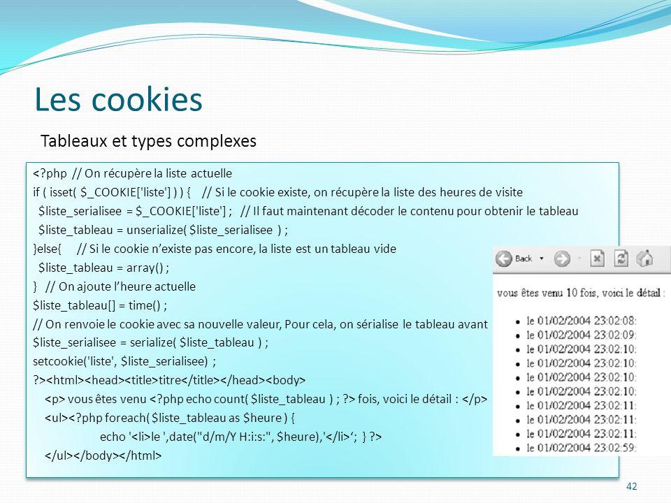 Les cookies Tableaux et types complexes
