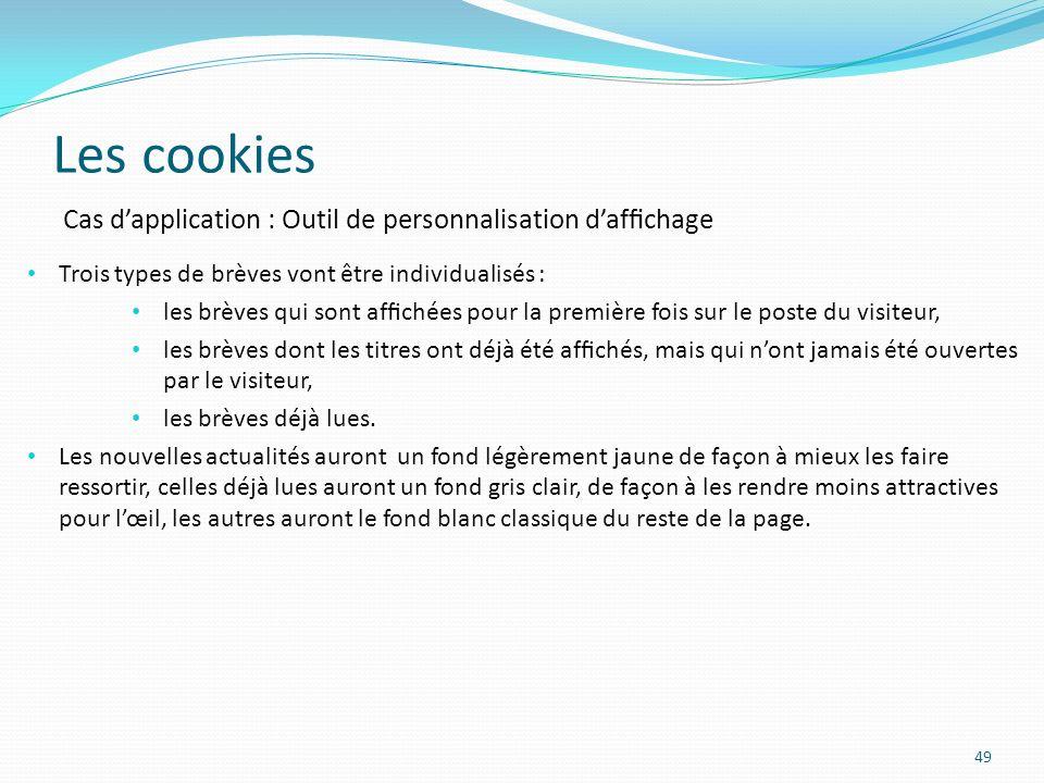 Les cookies Cas d'application : Outil de personnalisation d'affichage