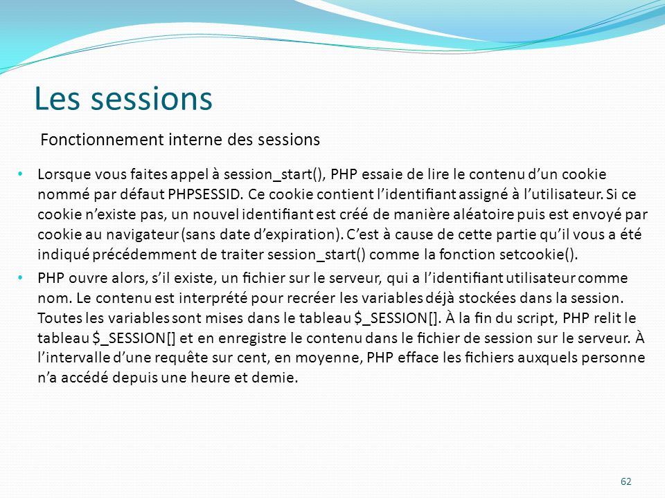 Les sessions Fonctionnement interne des sessions