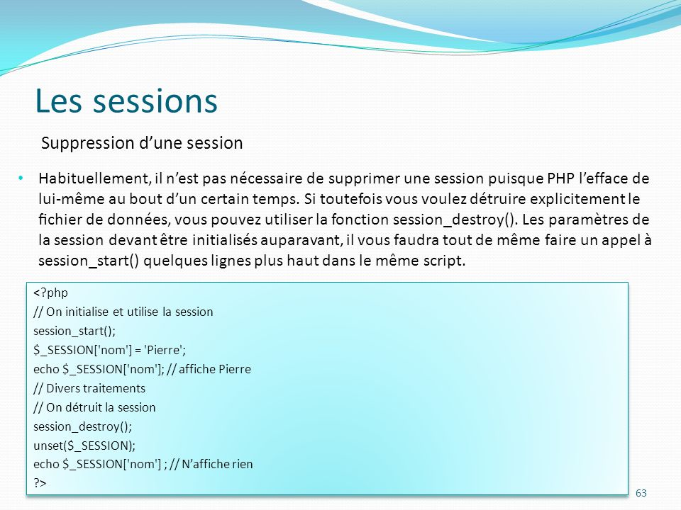 Les sessions Suppression d'une session