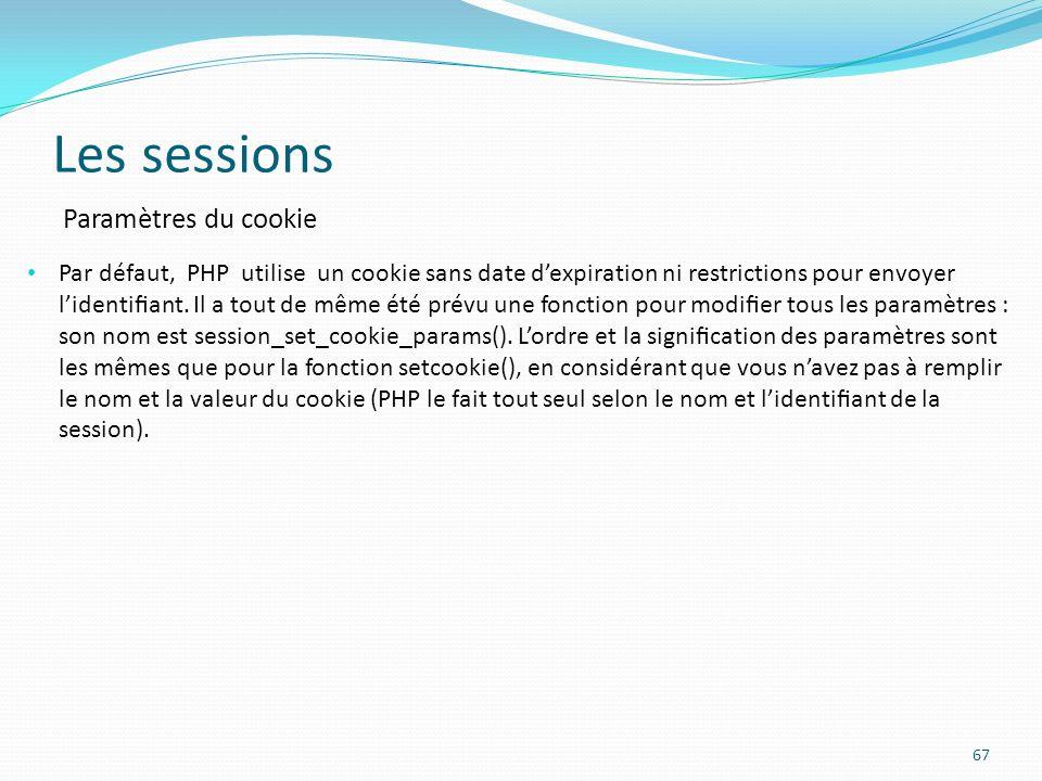 Les sessions Paramètres du cookie