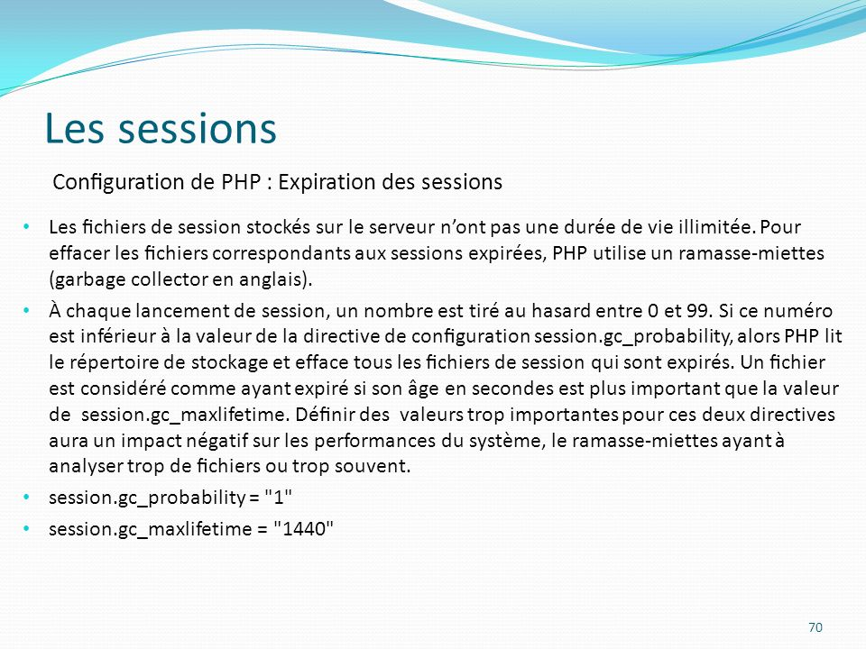Les sessions Configuration de PHP : Expiration des sessions