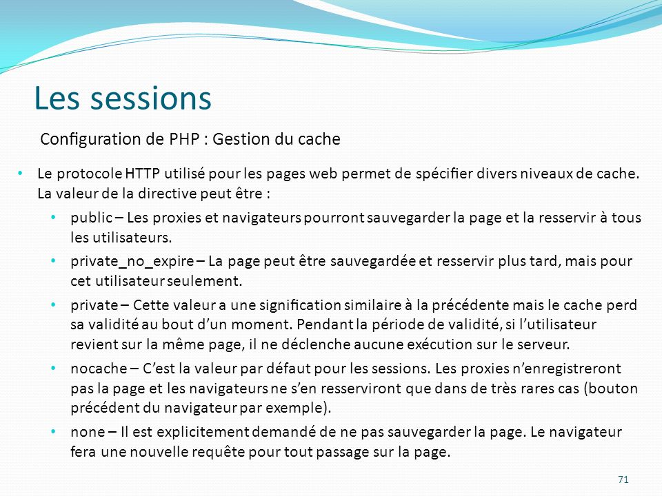 Les sessions Configuration de PHP : Gestion du cache