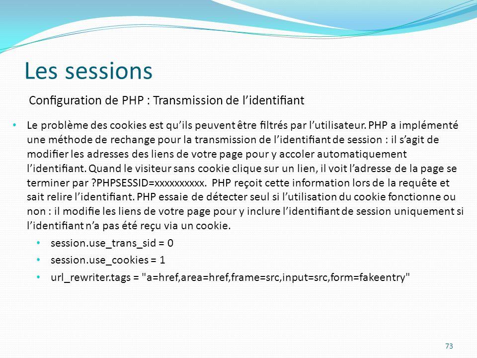 Les sessions Configuration de PHP : Transmission de l'identifiant