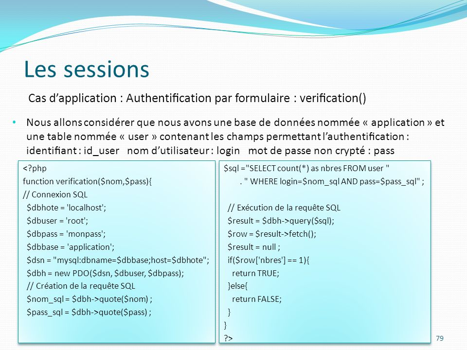 Les sessions Cas d'application : Authentification par formulaire : verification()