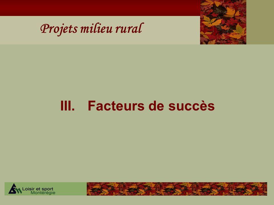 III. Facteurs de succès