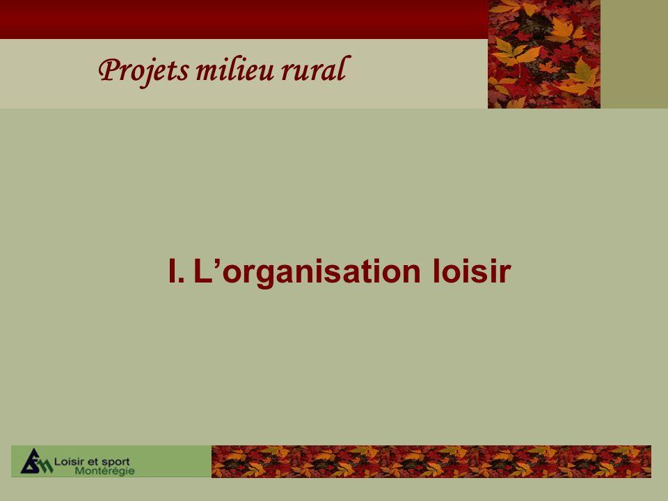 I. L'organisation loisir