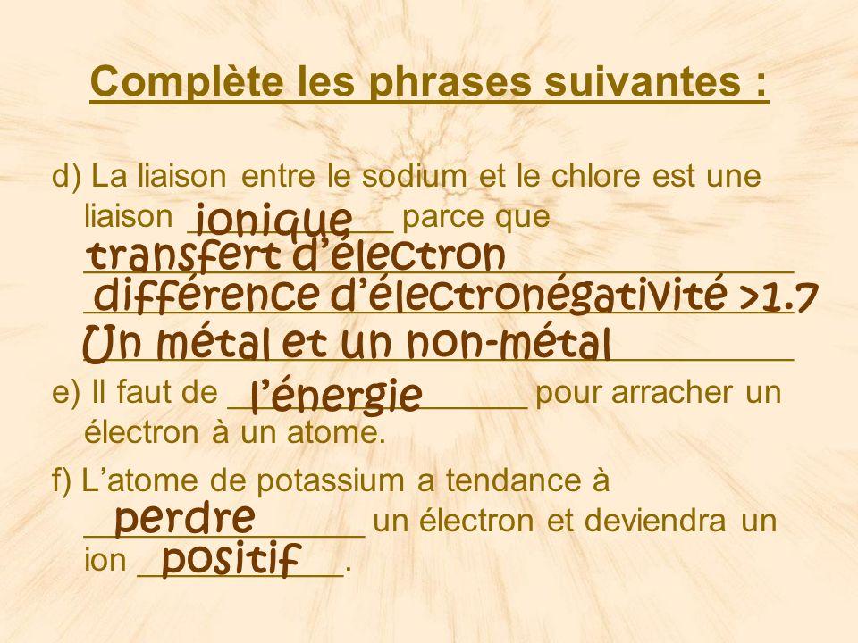 Complète les phrases suivantes :