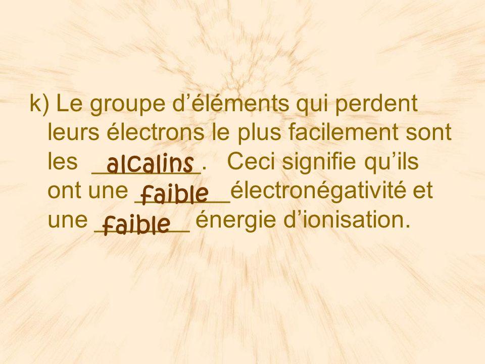 k) Le groupe d'éléments qui perdent leurs électrons le plus facilement sont les ________. Ceci signifie qu'ils ont une _______électronégativité et une _______ énergie d'ionisation.