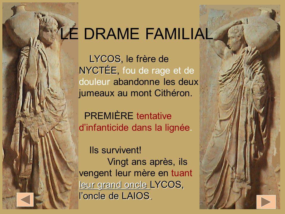 LE DRAME FAMILIAL LYCOS, le frère de NYCTÉE, fou de rage et de douleur abandonne les deux jumeaux au mont Cithéron.
