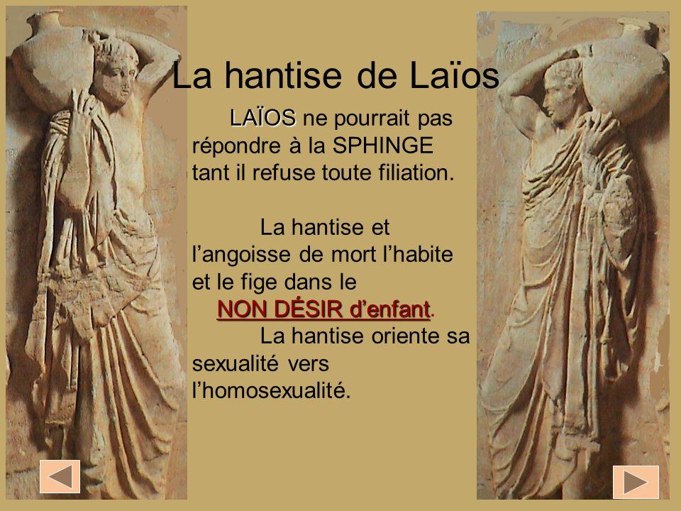 La hantise de Laïos LAÏOS ne pourrait pas répondre à la SPHINGE tant il refuse toute filiation.