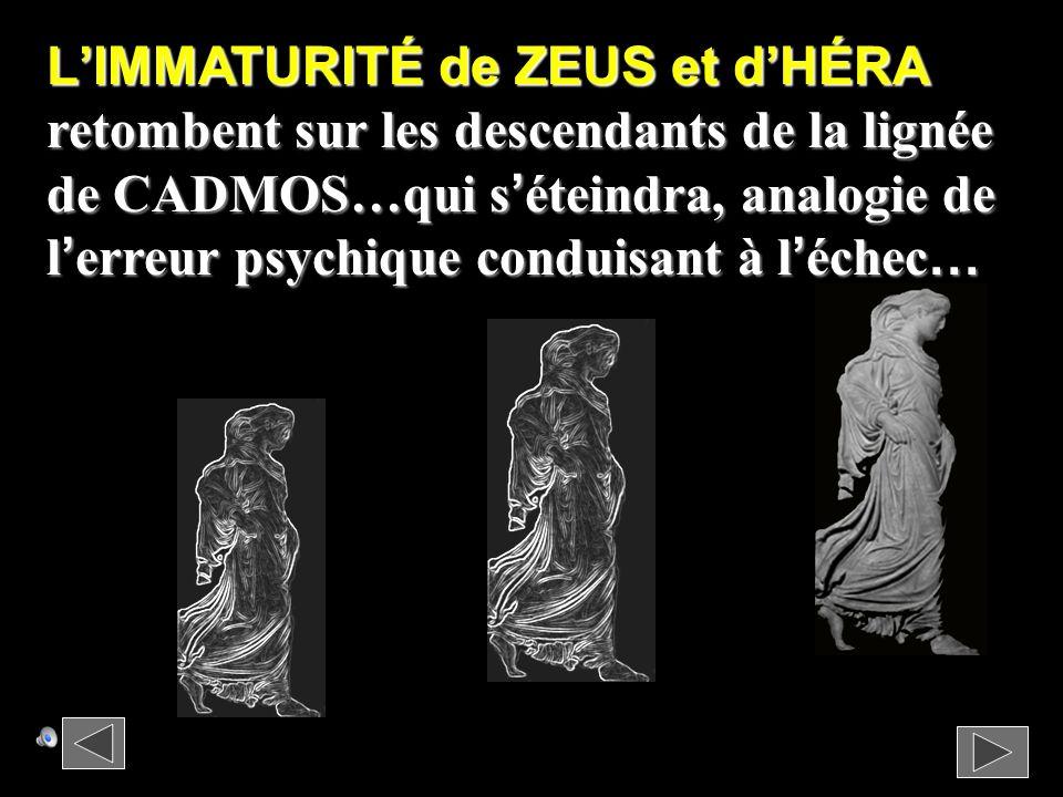 L'IMMATURITÉ de ZEUS et d'HÉRA retombent sur les descendants de la lignée de CADMOS…qui s'éteindra, analogie de l'erreur psychique conduisant à l'échec…