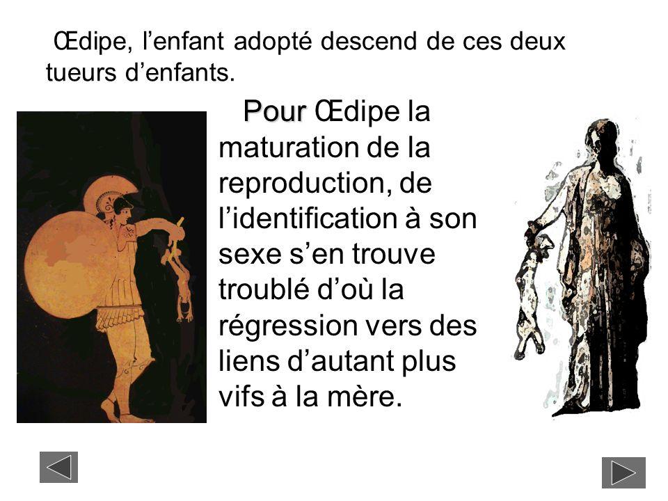 Œdipe, l'enfant adopté descend de ces deux tueurs d'enfants.