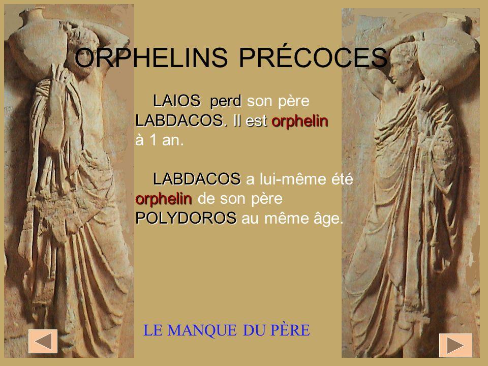 ORPHELINS PRÉCOCES LAIOS perd son père LABDACOS. Il est orphelin