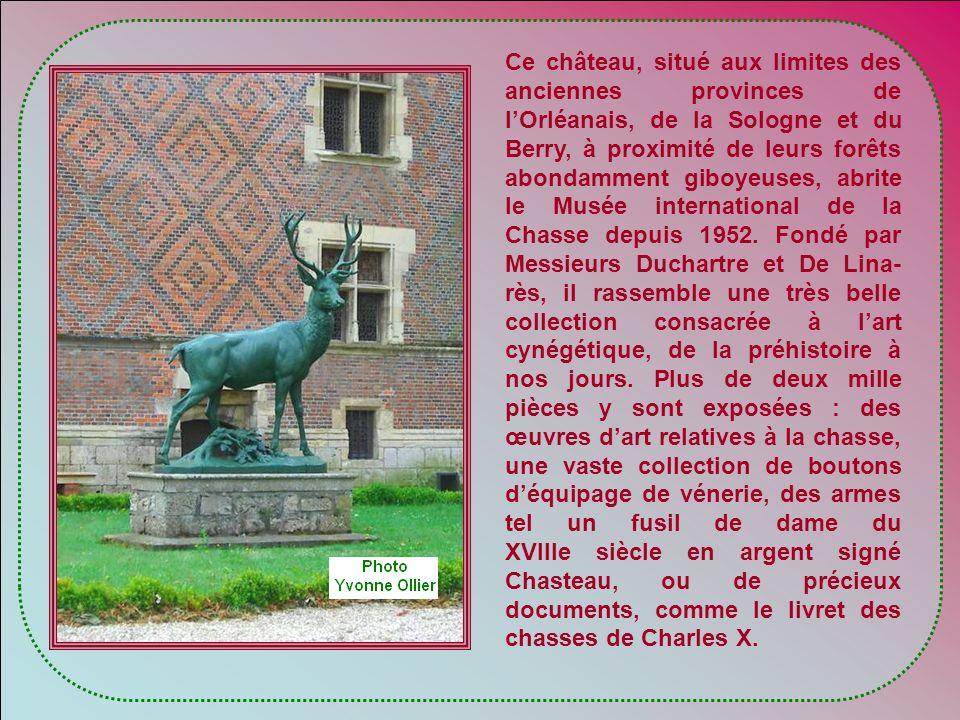Ce château, situé aux limites des anciennes provinces de l'Orléanais, de la Sologne et du Berry, à proximité de leurs forêts abondamment giboyeuses, abrite le Musée international de la Chasse depuis 1952.