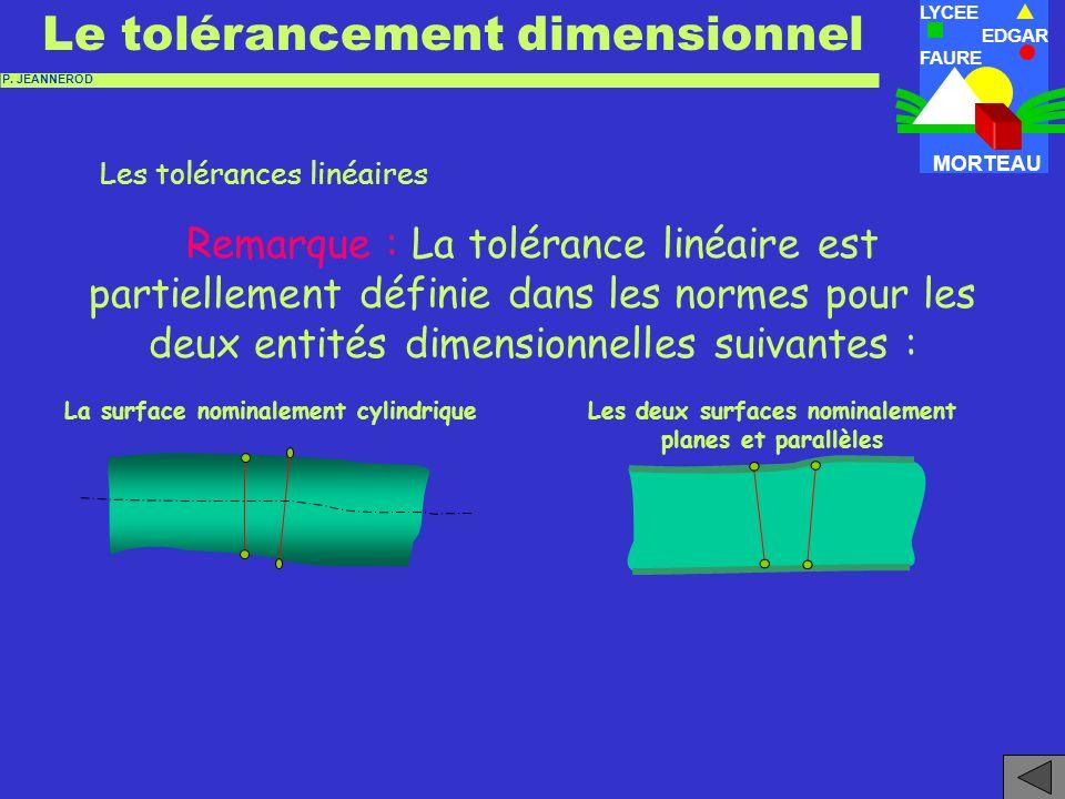Les tolérances linéaires -2