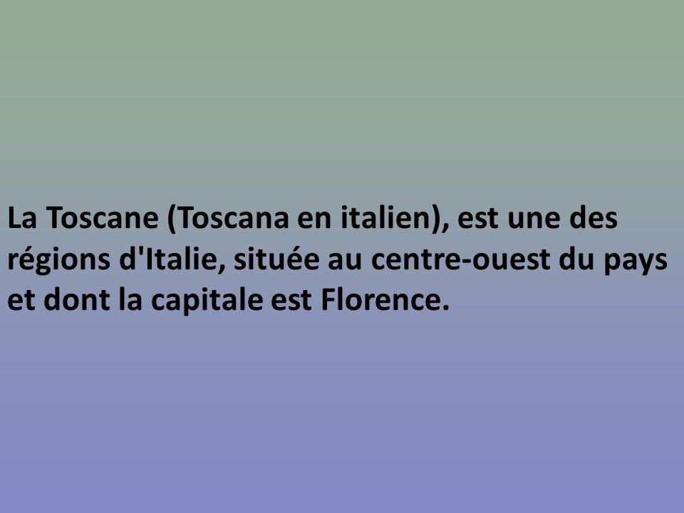 La Toscane (Toscana en italien), est une des régions d Italie, située au centre-ouest du pays et dont la capitale est Florence.