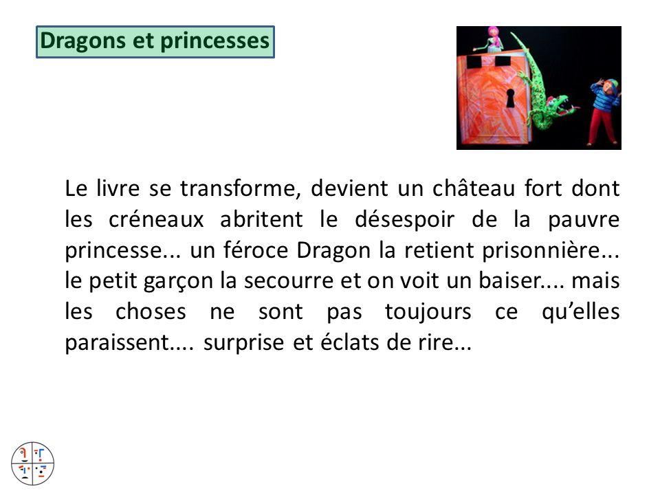 Dragons et princesses Le livre se transforme, devient un château fort dont les créneaux abritent le désespoir de la pauvre princesse...