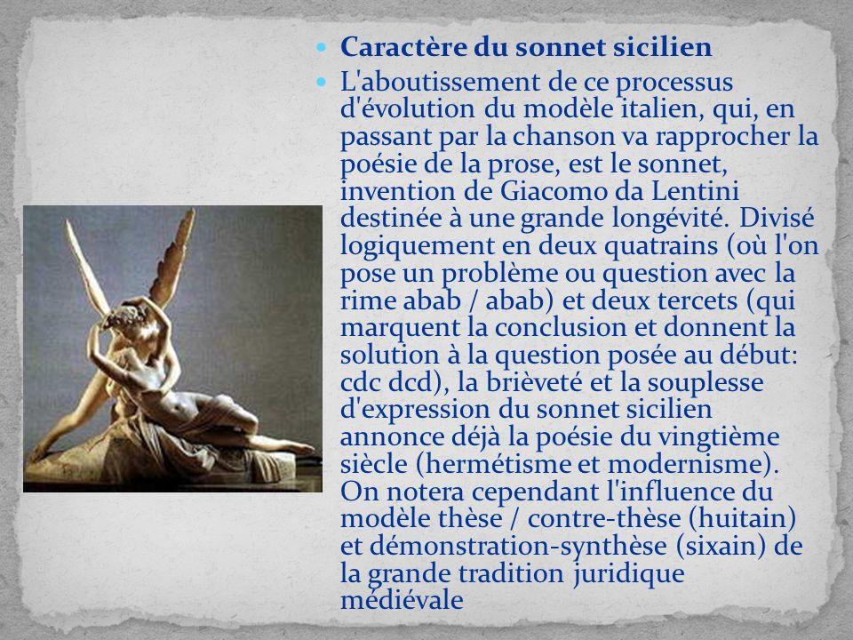 Caractère du sonnet sicilien