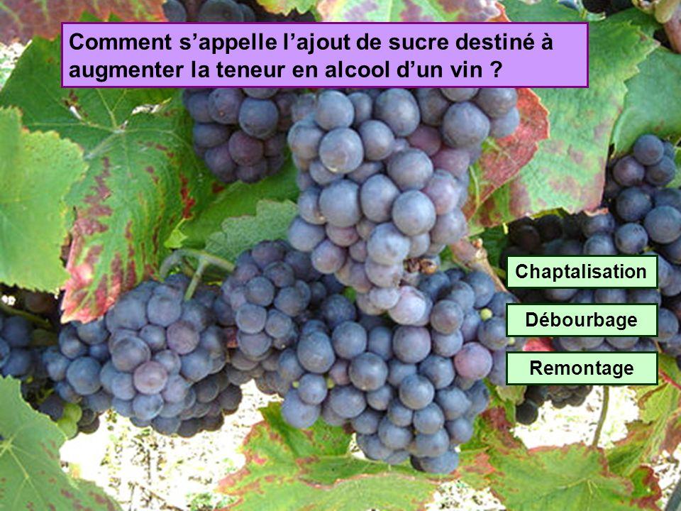 Comment s'appelle l'ajout de sucre destiné à augmenter la teneur en alcool d'un vin