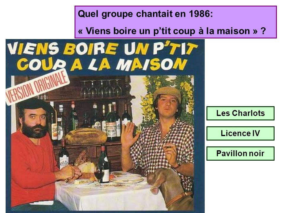 Quel groupe chantait en 1986: