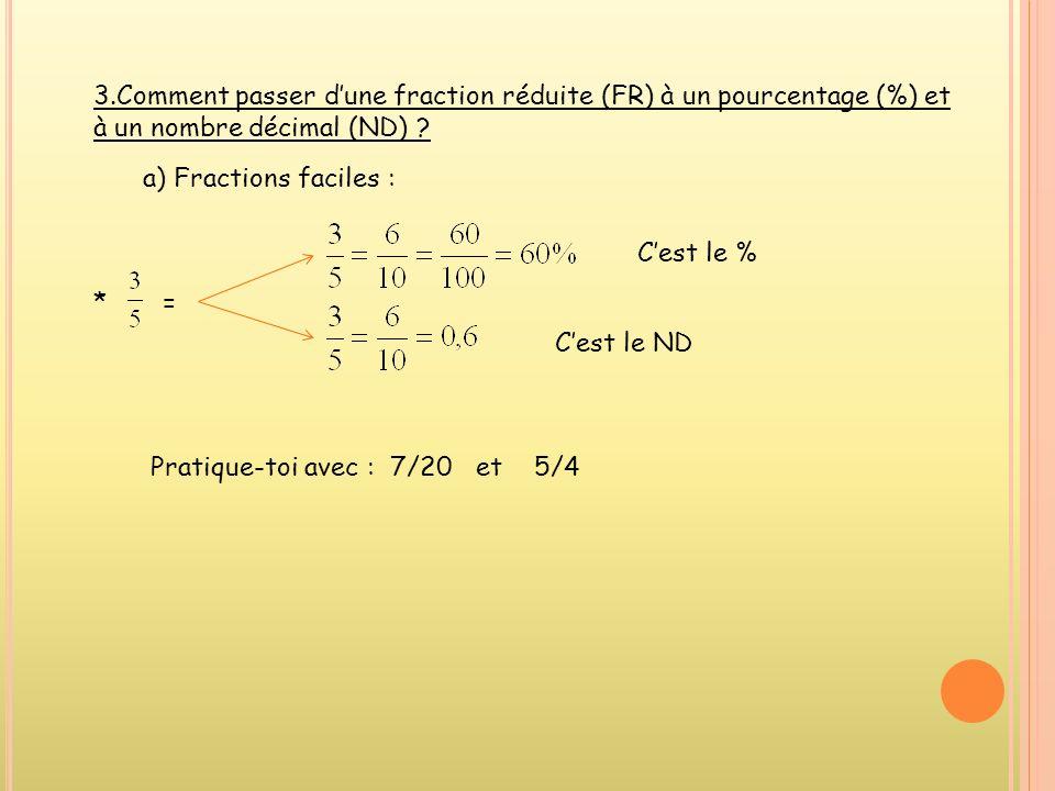 3.Comment passer d'une fraction réduite (FR) à un pourcentage (%) et à un nombre décimal (ND)
