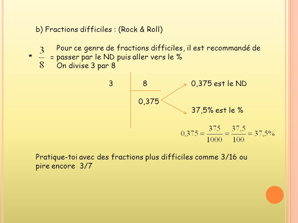 b) Fractions difficiles : (Rock & Roll)