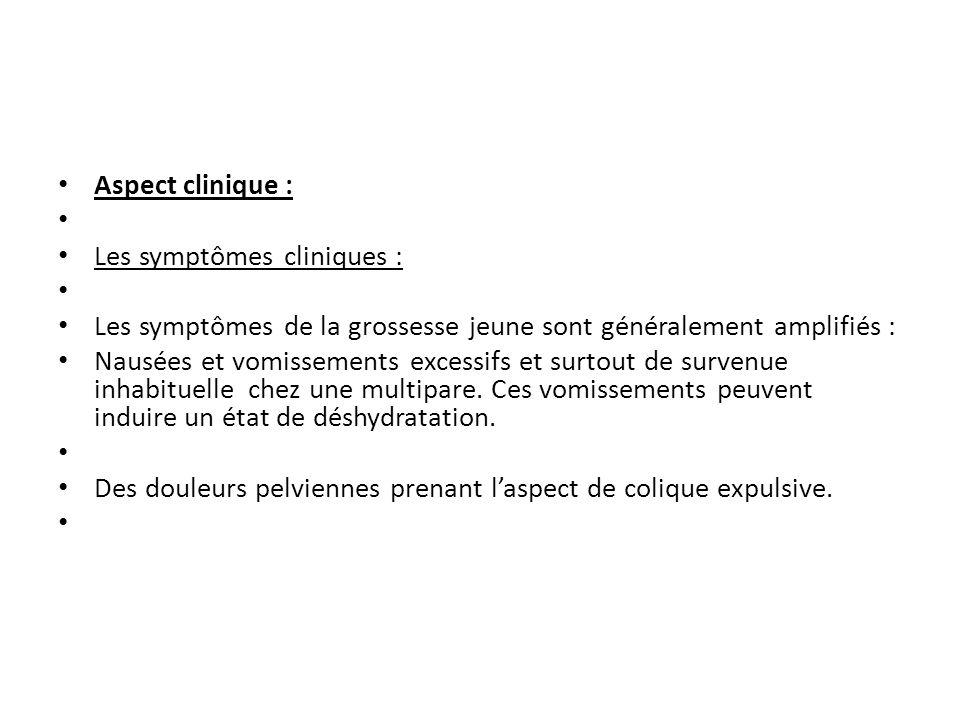 Aspect clinique : Les symptômes cliniques : Les symptômes de la grossesse jeune sont généralement amplifiés :