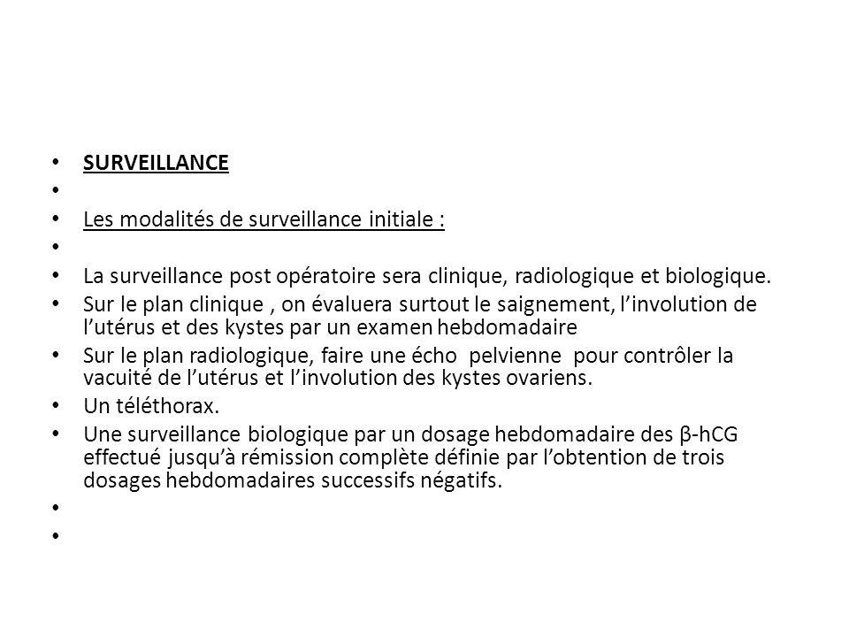 SURVEILLANCE Les modalités de surveillance initiale : La surveillance post opératoire sera clinique, radiologique et biologique.