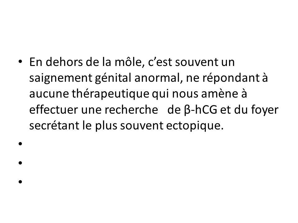 En dehors de la môle, c'est souvent un saignement génital anormal, ne répondant à aucune thérapeutique qui nous amène à effectuer une recherche de β-hCG et du foyer secrétant le plus souvent ectopique.